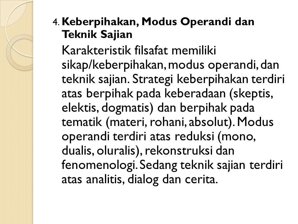 4. Keberpihakan, Modus Operandi dan Teknik Sajian Karakteristik filsafat memiliki sikap/keberpihakan, modus operandi, dan teknik sajian. Strategi kebe