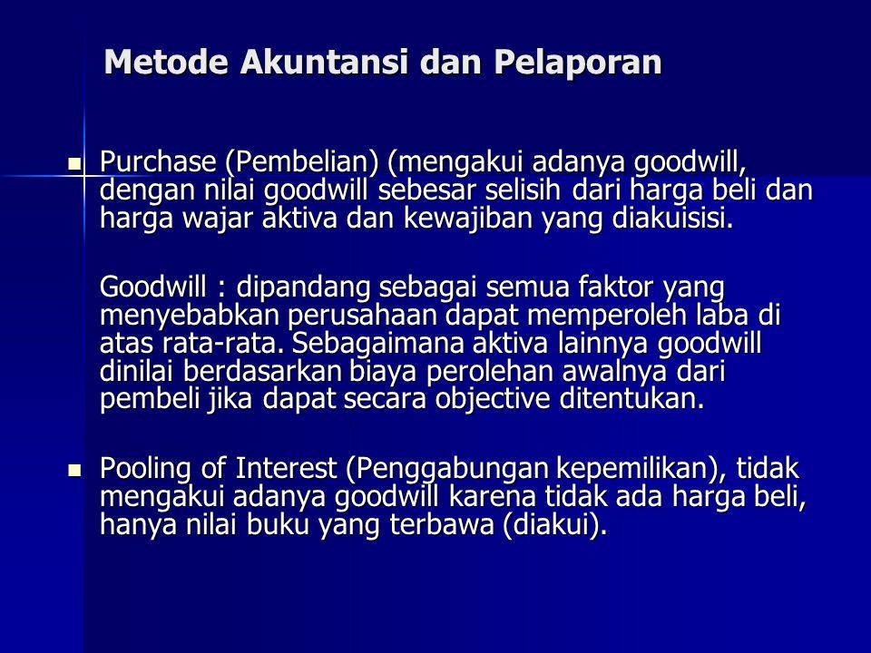 Metode Akuntansi dan Pelaporan Purchase (Pembelian) (mengakui adanya goodwill, dengan nilai goodwill sebesar selisih dari harga beli dan harga wajar a