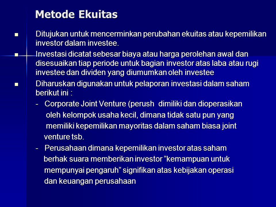 Metode Ekuitas Ditujukan untuk mencerminkan perubahan ekuitas atau kepemilikan investor dalam investee. Ditujukan untuk mencerminkan perubahan ekuitas