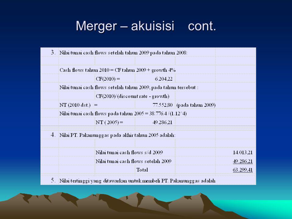 Merger – akuisisi cont.