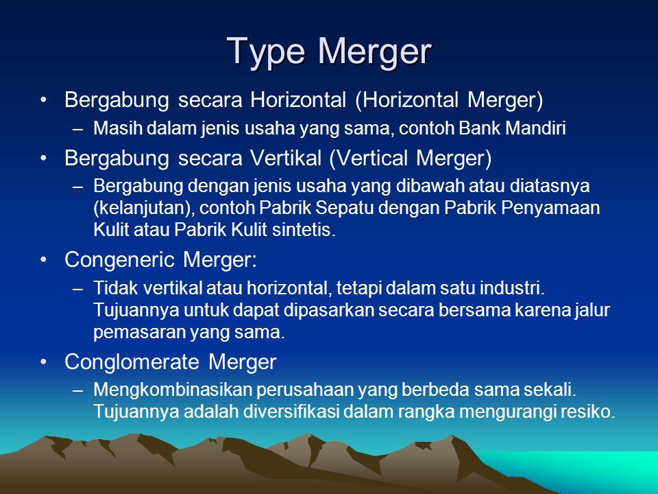 Type Merger Bergabung secara Horizontal (Horizontal Merger) –Masih dalam jenis usaha yang sama, contoh Bank Mandiri Bergabung secara Vertikal (Vertical Merger) –Bergabung dengan jenis usaha yang dibawah atau diatasnya (kelanjutan), contoh Pabrik Sepatu dengan Pabrik Penyamaan Kulit atau Pabrik Kulit sintetis.