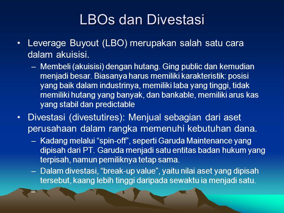 LBOs dan Divestasi Leverage Buyout (LBO) merupakan salah satu cara dalam akuisisi.