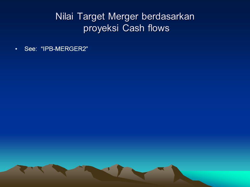 Nilai Target Merger berdasarkan proyeksi Cash flows See: IPB-MERGER2