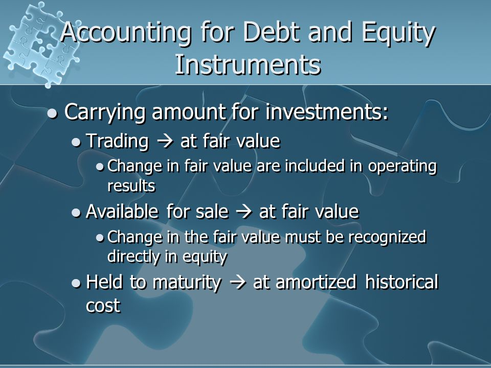 Accounting for Debt and Equity Instruments Carrying amount for investments: Trading  at fair value Change in fair value are included in operating results Available for sale  at fair value Change in the fair value must be recognized directly in equity Held to maturity  at amortized historical cost Carrying amount for investments: Trading  at fair value Change in fair value are included in operating results Available for sale  at fair value Change in the fair value must be recognized directly in equity Held to maturity  at amortized historical cost