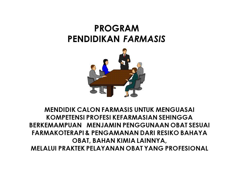 PROGRAM PENDIDIKAN FARMASIS MENDIDIK CALON FARMASIS UNTUK MENGUASAI KOMPETENSI PROFESI KEFARMASIAN SEHINGGA BERKEMAMPUAN MENJAMIN PENGGUNAAN OBAT SESUAI FARMAKOTERAPI & PENGAMANAN DARI RESIKO BAHAYA OBAT, BAHAN KIMIA LAINNYA, MELALUI PRAKTEK PELAYANAN OBAT YANG PROFESIONAL