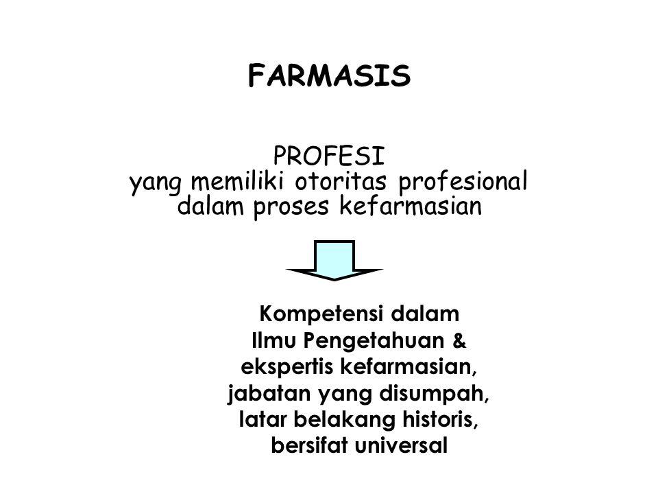 FARMASIS PROFESI yang memiliki otoritas profesional dalam proses kefarmasian Kompetensi dalam Ilmu Pengetahuan & ekspertis kefarmasian, jabatan yang disumpah, latar belakang historis, bersifat universal