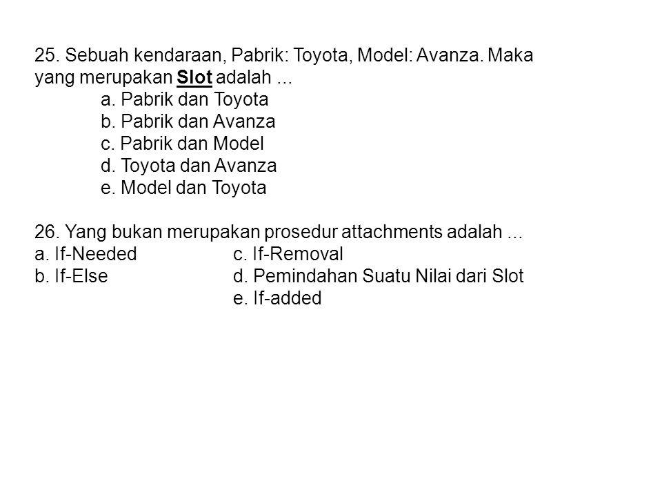 25.Sebuah kendaraan, Pabrik: Toyota, Model: Avanza.
