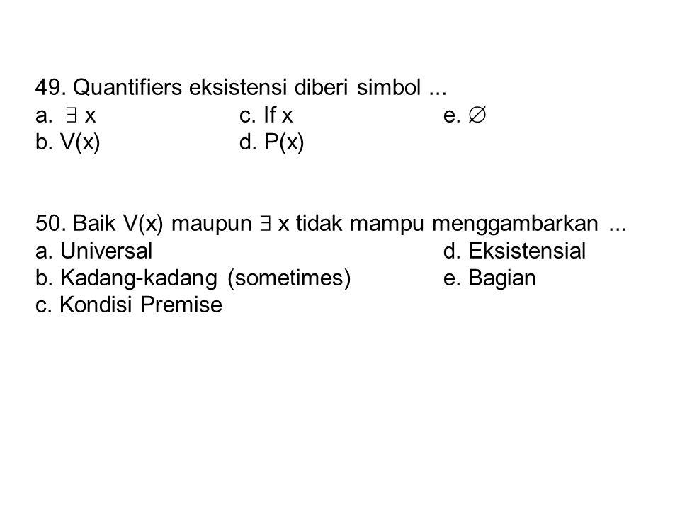 49.Quantifiers eksistensi diberi simbol... a.  xc.