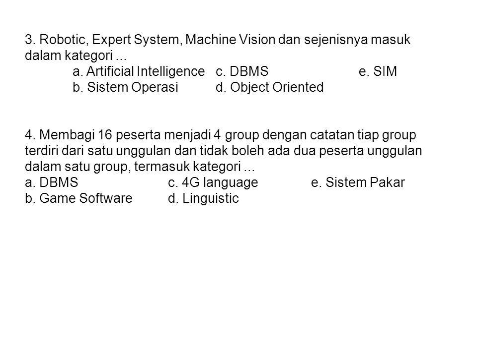 3.Robotic, Expert System, Machine Vision dan sejenisnya masuk dalam kategori...