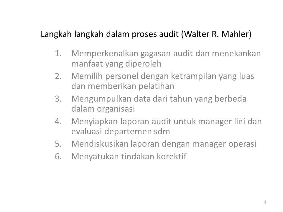 Langkah langkah dalam proses audit (Walter R. Mahler) 1.Memperkenalkan gagasan audit dan menekankan manfaat yang diperoleh 2.Memilih personel dengan k