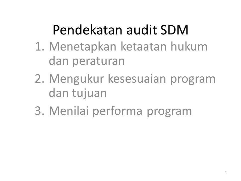 Manfaat dari audit SDM 1.Mengidentifikasi kontribusi-kontribusi departemen sdm terhadap perusahaan 2.Meningkatkan citra profesional departemen sdm 3.Mendorong tanggungjawab dan profesionalisme yang lebih besar diantara karyawan departemen sdm 4.Memperjelas tugas-tugas dan tanggungjawab departemen sdm 5.Menstimulasi keragaman kebijakan dan praktik-praktik sdm 6.Menemukan masalah-masalah sdm yang kritis 7.