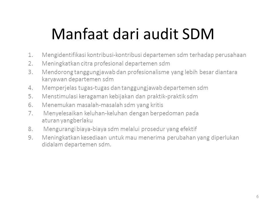 Manfaat dari audit SDM 1.Mengidentifikasi kontribusi-kontribusi departemen sdm terhadap perusahaan 2.Meningkatkan citra profesional departemen sdm 3.M