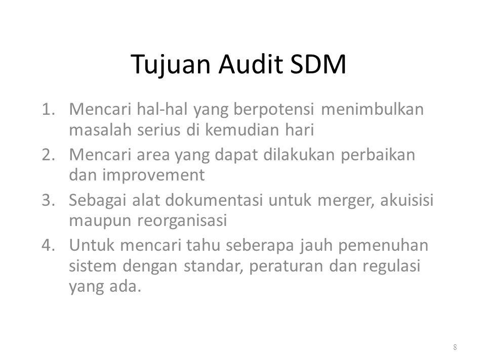 Ruang Lingkup Audit SDM Secara garis besar, prospek audit sdm dilakukan terhadap fungsi sdm yangberkaitan dengan kegiatan- kegiatan sdm yang dimulai dari perencanaan sdm, perekrutan, penyeleksian, pelatihan, evaluasi kinerja sdm, dll 9