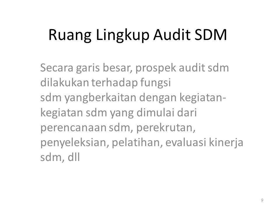 Ruang Lingkup Audit SDM Secara garis besar, prospek audit sdm dilakukan terhadap fungsi sdm yangberkaitan dengan kegiatan- kegiatan sdm yang dimulai d