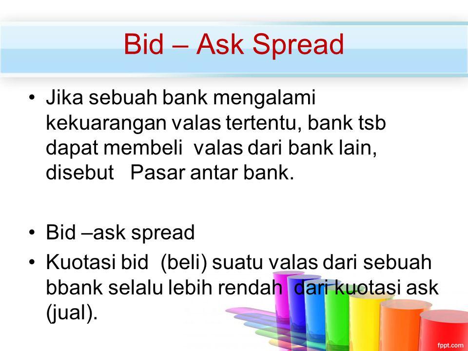 Jika sebuah bank mengalami kekuarangan valas tertentu, bank tsb dapat membeli valas dari bank lain, disebut Pasar antar bank. Bid –ask spread Kuotasi