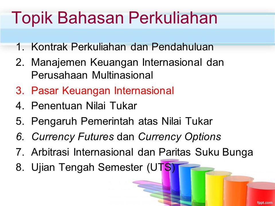 Topik Bahasan Perkuliahan 1.Kontrak Perkuliahan dan Pendahuluan 2.Manajemen Keuangan Internasional dan Perusahaan Multinasional 3.Pasar Keuangan Inter