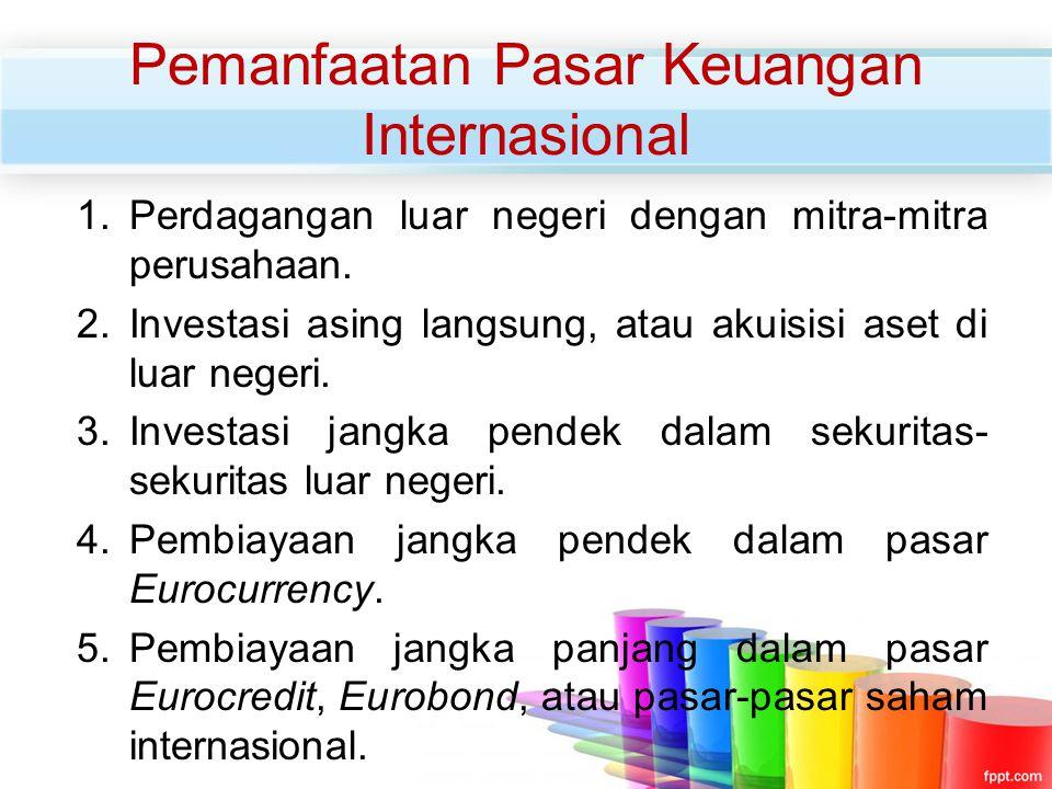 Pemanfaatan Pasar Keuangan Internasional 1.Perdagangan luar negeri dengan mitra-mitra perusahaan. 2.Investasi asing langsung, atau akuisisi aset di lu