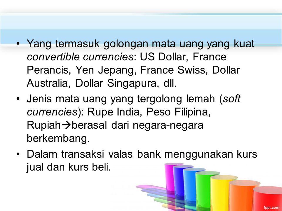 Yang termasuk golongan mata uang yang kuat convertible currencies: US Dollar, France Perancis, Yen Jepang, France Swiss, Dollar Australia, Dollar Sing
