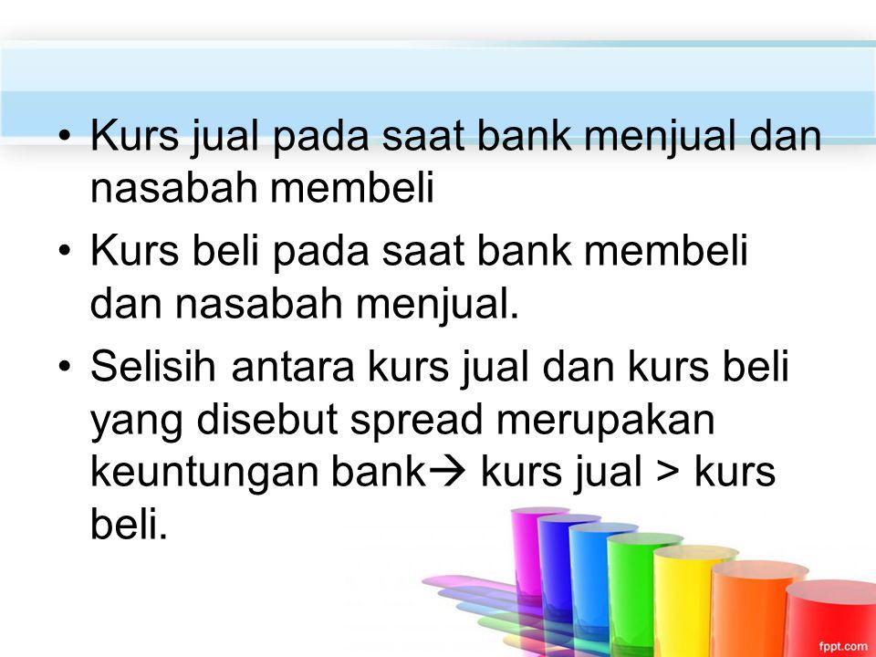Kurs jual pada saat bank menjual dan nasabah membeli Kurs beli pada saat bank membeli dan nasabah menjual. Selisih antara kurs jual dan kurs beli yang