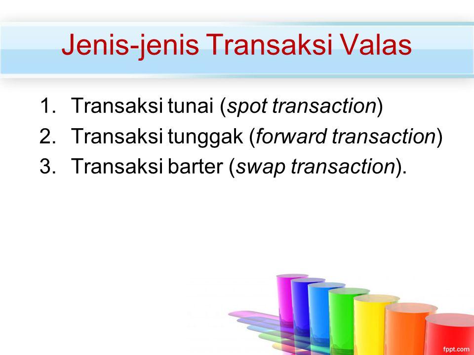 Jenis-jenis Transaksi Valas 1.Transaksi tunai (spot transaction) 2.Transaksi tunggak (forward transaction) 3.Transaksi barter (swap transaction).