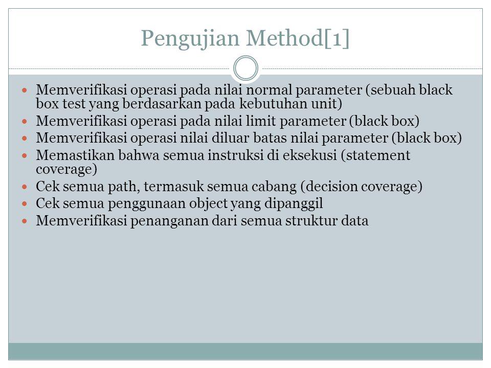 Pengujian Method[1] Memverifikasi operasi pada nilai normal parameter (sebuah black box test yang berdasarkan pada kebutuhan unit) Memverifikasi opera