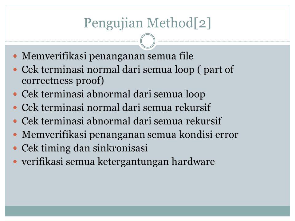 Pengujian Method[2] Memverifikasi penanganan semua file Cek terminasi normal dari semua loop ( part of correctness proof) Cek terminasi abnormal dari