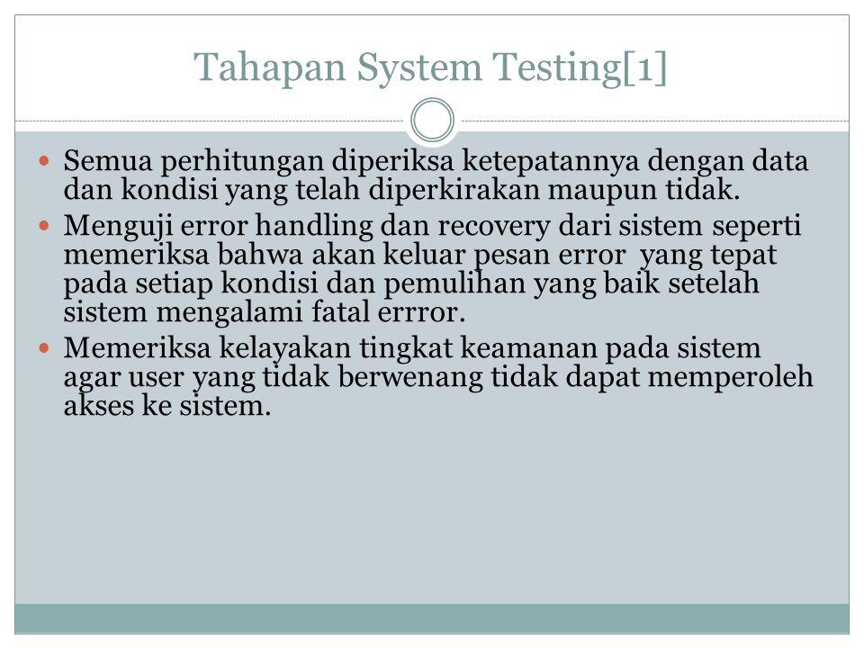 Tahapan System Testing[1] Semua perhitungan diperiksa ketepatannya dengan data dan kondisi yang telah diperkirakan maupun tidak. Menguji error handlin