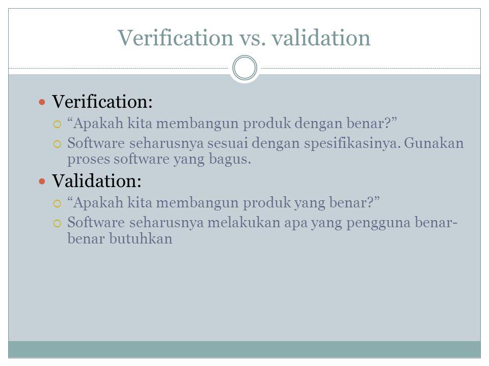"""Verification vs. validation Verification:  """"Apakah kita membangun produk dengan benar?""""  Software seharusnya sesuai dengan spesifikasinya. Gunakan p"""