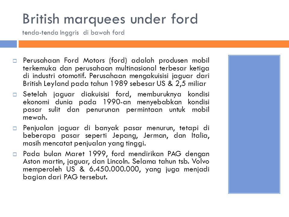 British marquees under ford tenda-tenda Inggris di bawah ford  Perusahaan Ford Motors (ford) adalah produsen mobil terkemuka dan perusahaan multinasi
