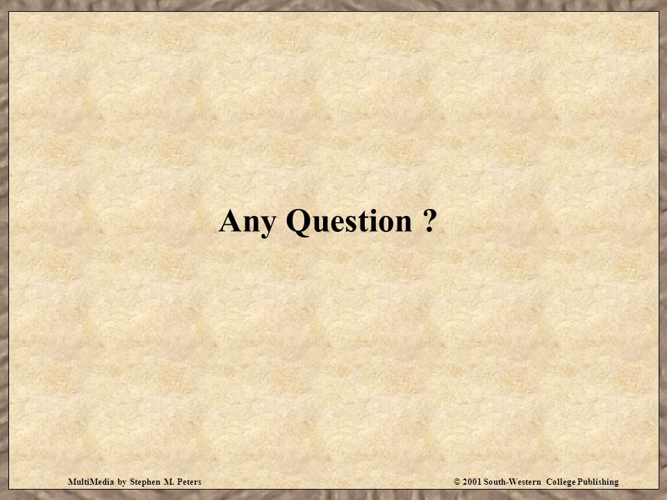 Any Question ? MultiMedia by Stephen M. Peters© 2001 South-Western College Publishing
