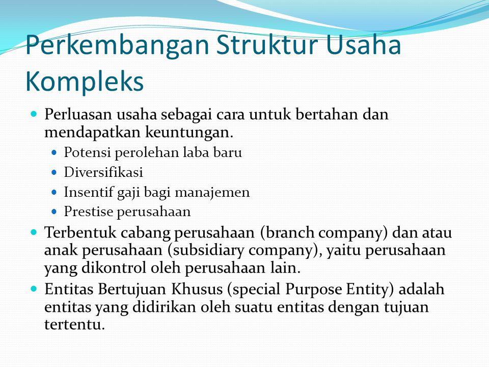 Perkembangan Struktur Usaha Kompleks Perluasan usaha sebagai cara untuk bertahan dan mendapatkan keuntungan. Potensi perolehan laba baru Diversifikasi