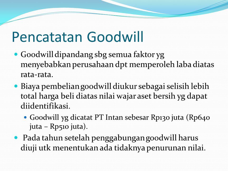 Pencatatan Goodwill Goodwill dipandang sbg semua faktor yg menyebabkan perusahaan dpt memperoleh laba diatas rata-rata. Biaya pembelian goodwill diuku