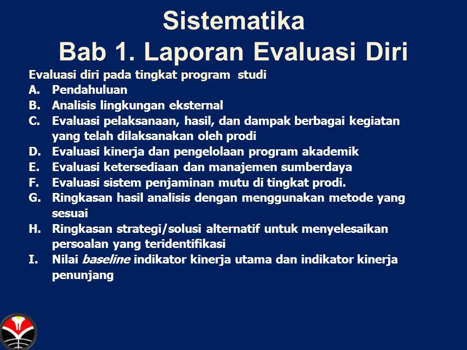 Sistematika Bab 1. Laporan Evaluasi Diri Evaluasi diri pada tingkat program studi A.Pendahuluan B.Analisis lingkungan eksternal C.Evaluasi pelaksanaan