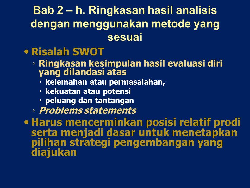 Bab 2 – h. Ringkasan hasil analisis dengan menggunakan metode yang sesuai Risalah SWOT ◦ Ringkasan kesimpulan hasil evaluasi diri yang dilandasi atas