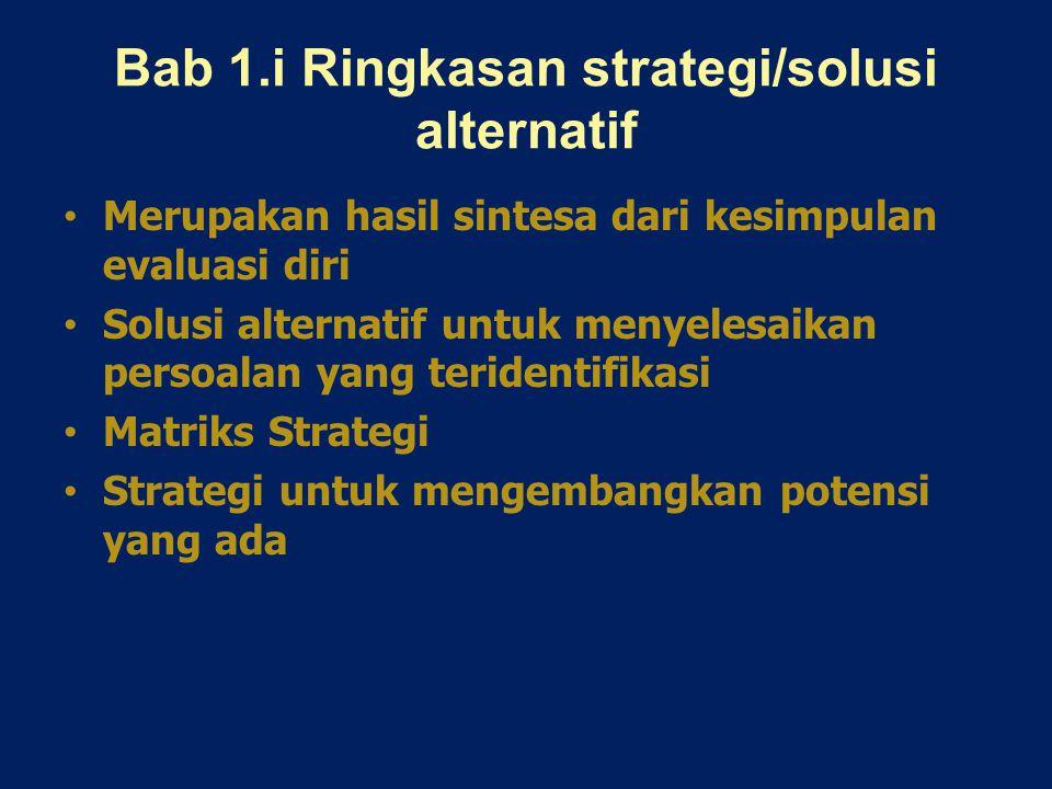 Bab 1.i Ringkasan strategi/solusi alternatif Merupakan hasil sintesa dari kesimpulan evaluasi diri Solusi alternatif untuk menyelesaikan persoalan yang teridentifikasi Matriks Strategi Strategi untuk mengembangkan potensi yang ada