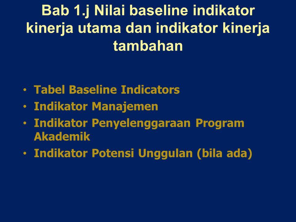 Bab 1.j Nilai baseline indikator kinerja utama dan indikator kinerja tambahan Tabel Baseline Indicators Indikator Manajemen Indikator Penyelenggaraan Program Akademik Indikator Potensi Unggulan (bila ada)