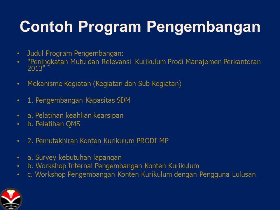 Contoh Program Pengembangan Judul Program Pengembangan: Peningkatan Mutu dan Relevansi Kurikulum Prodi Manajemen Perkantoran 2013 Mekanisme Kegiatan (Kegiatan dan Sub Kegiatan) 1.
