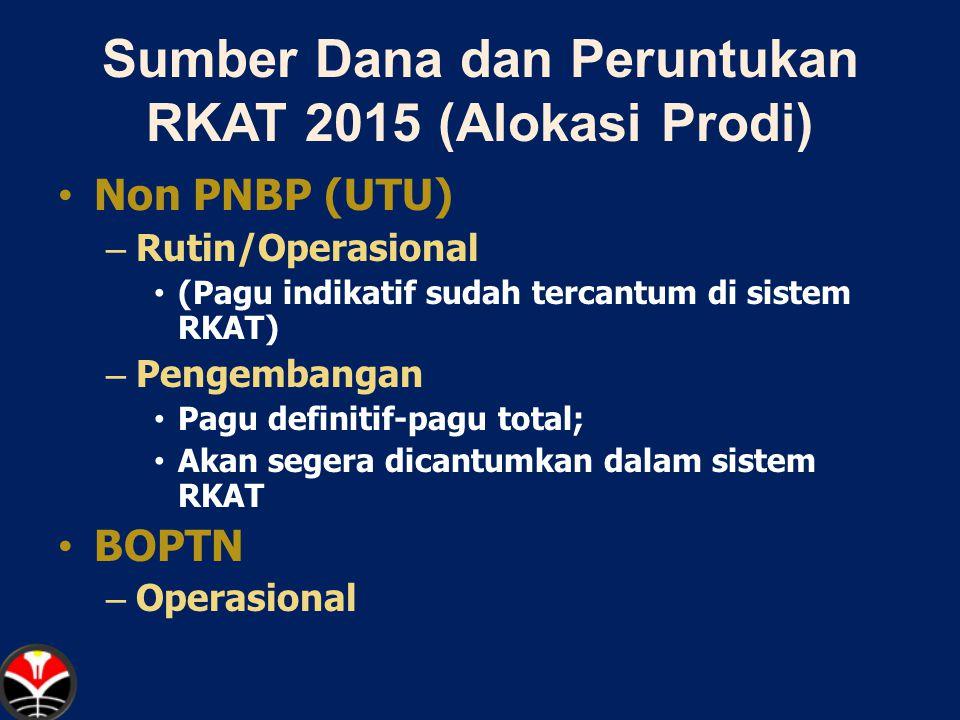 Sumber Dana dan Peruntukan RKAT 2015 (Alokasi Prodi) Non PNBP (UTU) – Rutin/Operasional (Pagu indikatif sudah tercantum di sistem RKAT) – Pengembangan Pagu definitif-pagu total; Akan segera dicantumkan dalam sistem RKAT BOPTN – Operasional