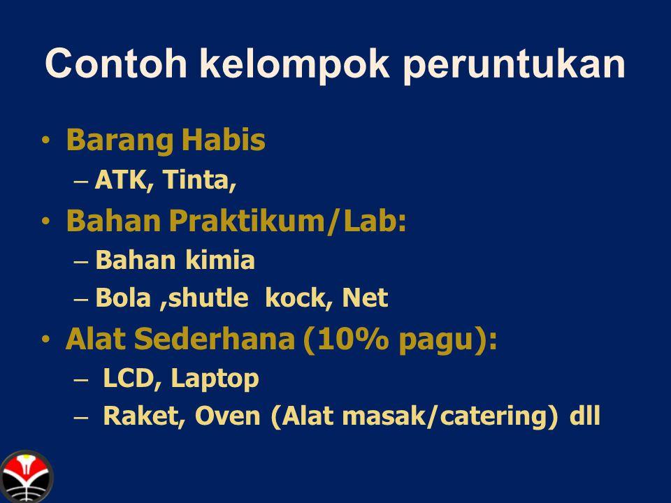 Contoh kelompok peruntukan Barang Habis – ATK, Tinta, Bahan Praktikum/Lab: – Bahan kimia – Bola,shutle kock, Net Alat Sederhana (10% pagu): – LCD, Laptop – Raket, Oven (Alat masak/catering) dll