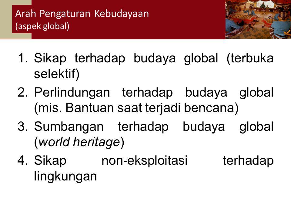 34 1.Sikap terhadap budaya global (terbuka selektif) 2.Perlindungan terhadap budaya global (mis.