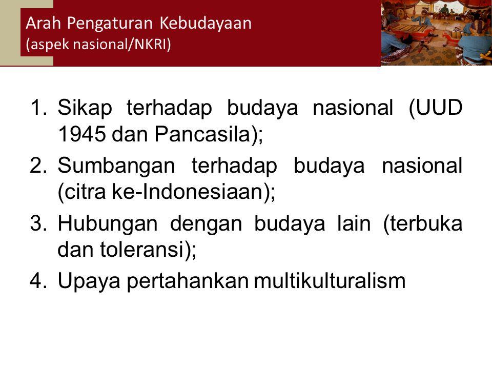 34 1.Sikap terhadap budaya nasional (UUD 1945 dan Pancasila); 2.Sumbangan terhadap budaya nasional (citra ke-Indonesiaan); 3.Hubungan dengan budaya lain (terbuka dan toleransi); 4.Upaya pertahankan multikulturalism Arah Pengaturan Kebudayaan (aspek nasional/NKRI)