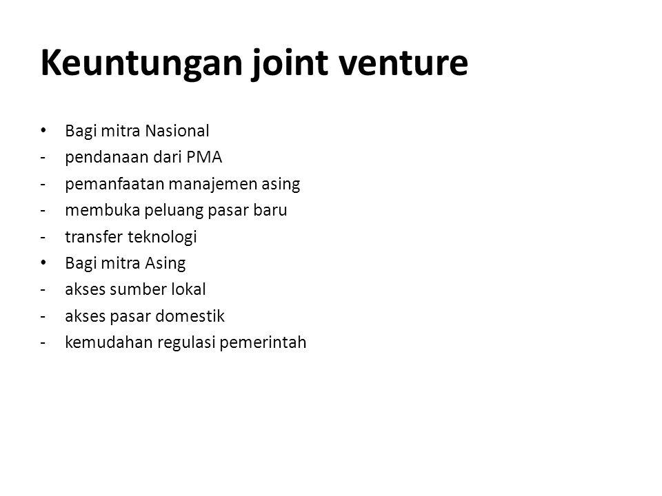 Keuntungan joint venture Bagi mitra Nasional -pendanaan dari PMA -pemanfaatan manajemen asing -membuka peluang pasar baru -transfer teknologi Bagi mit