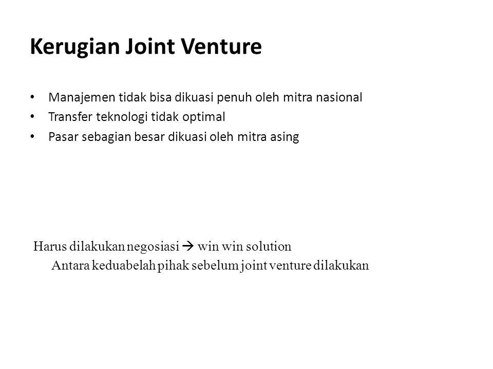 Kerugian Joint Venture Manajemen tidak bisa dikuasi penuh oleh mitra nasional Transfer teknologi tidak optimal Pasar sebagian besar dikuasi oleh mitra
