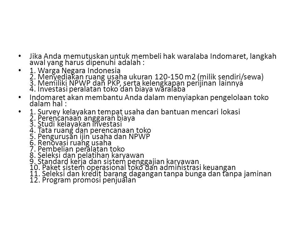 Jika Anda memutuskan untuk membeli hak waralaba Indomaret, langkah awal yang harus dipenuhi adalah : 1. Warga Negara Indonesia 2. Menyediakan ruang us