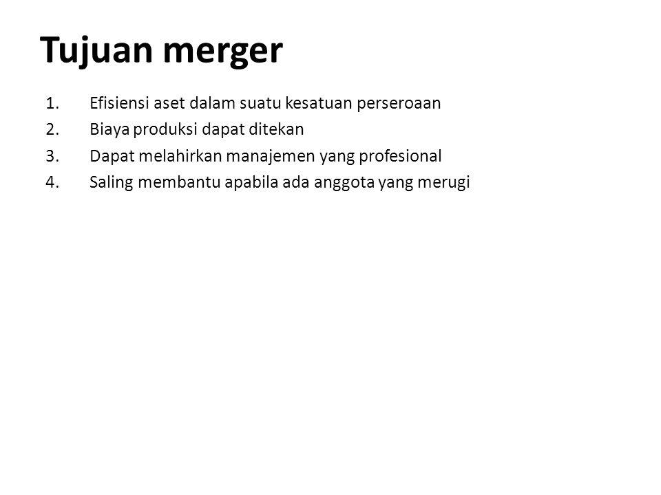 Tujuan merger 1.Efisiensi aset dalam suatu kesatuan perseroaan 2.Biaya produksi dapat ditekan 3.Dapat melahirkan manajemen yang profesional 4.Saling m
