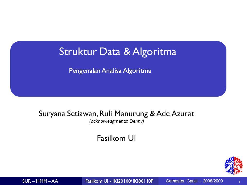 42 SUR – HMM – AAFasilkom UI - IKI20100/ IKI80110P Semester Ganjil – 2008/2009 Program – versi 2 static public int maximumSubSequenceSum3b (int a[]) { int thisSum = 0, maxSum = 0; for (int ii = 0; ii < a.length; ii++) { thisSum = Max(0, a[ii] + thisSum); maxSum = Max(thisSum, maxSum); } return maxSum; }