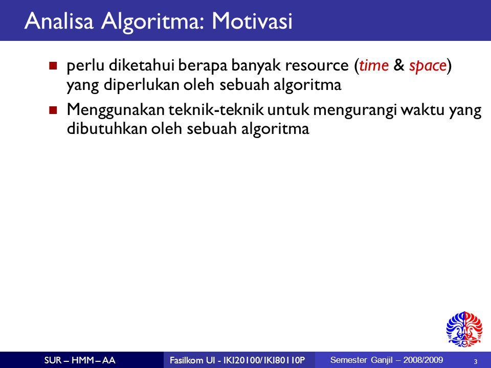4 SUR – HMM – AAFasilkom UI - IKI20100/ IKI80110P Semester Ganjil – 2008/2009 Tujuan Pengajaran Mahasiswa dapat memperkirakan waktu yang dibutuhkan sebuah algoritma.