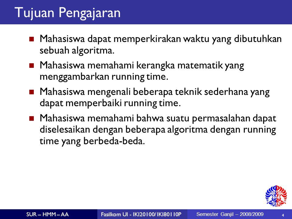 25 SUR – HMM – AAFasilkom UI - IKI20100/ IKI80110P Semester Ganjil – 2008/2009 The Better Algorithm public static int maxSubSum2( int [ ] A ) { int maxSum = 0; for( int ii = 0; ii < A.length; ii++ ) { int thisSum = 0; for( int jj = ii; jj < A.length; jj++ ) { thisSum += A[jj]; if( thisSum > maxSum ) maxSum = thisSum; } return maxSum ; }