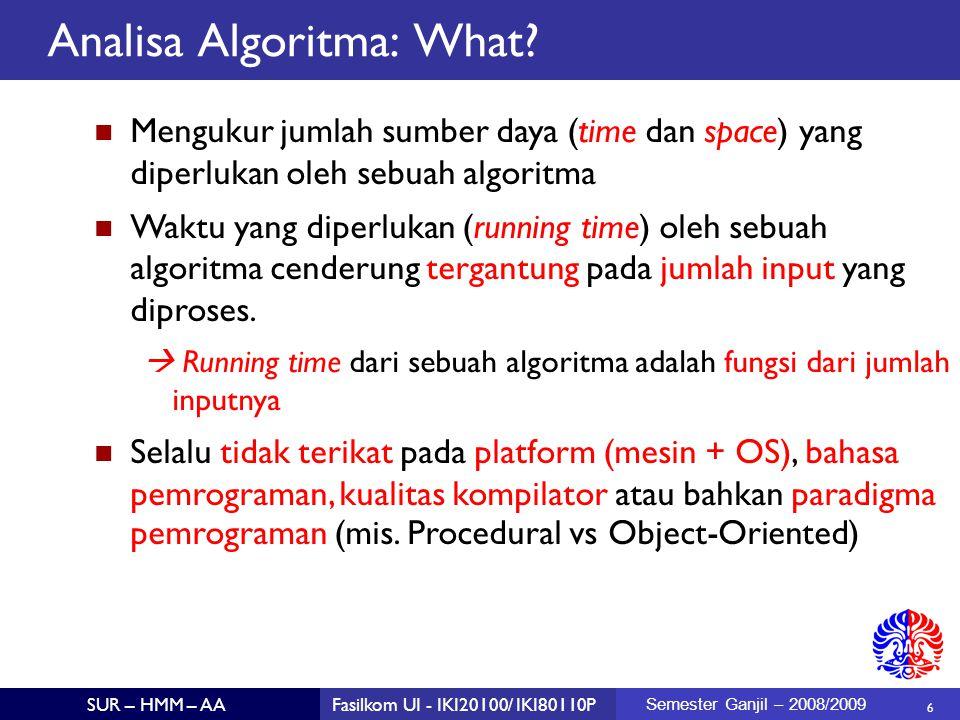 37 SUR – HMM – AAFasilkom UI - IKI20100/ IKI80110P Semester Ganjil – 2008/2009 N log N Setiap algoritma rekursif yang menyelesaikankan permasalahan dengan membagi dua permasalahan kemudian melakukan proses linear (menggabung atau memecah) akan selalu O( N log N ) karena analisa yang sama tetap berlaku.