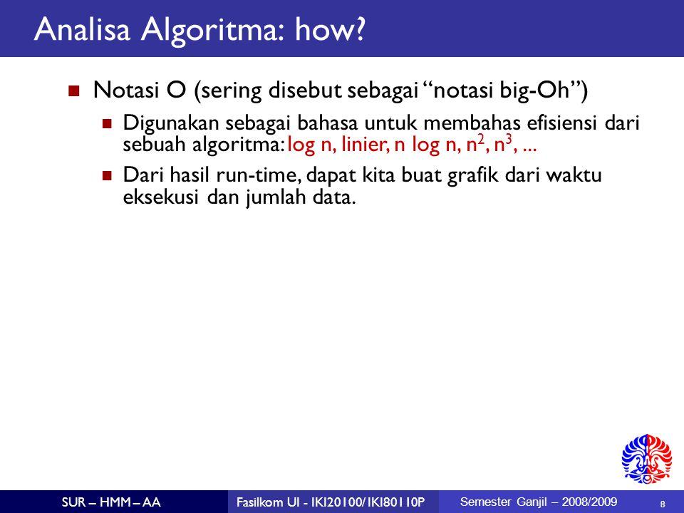 9 SUR – HMM – AAFasilkom UI - IKI20100/ IKI80110P Semester Ganjil – 2008/2009 Contoh: Mencari elemen terkecil dalam sebuah array Algoritma: sequential scan / linear search Orde-nya: O(n) – linear public static int smallest (int a[]) { assert (length of array > 0); int elemenTerkecil = a[0]; for (ii = 1; ii < a.length; ii++) { if (a[ii] < elemenTerkecil) { elemenTerkecil = a[ii]; } return elemenTerkecil ; } Analisa Algoritma: How?